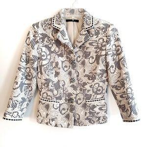 Elie Tahari 3 Jewel Snap Front Floral Blazer Coat